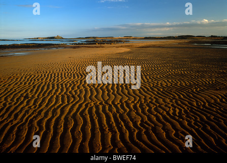 A view of Dunstanburgh Castle seen from Embleton Bay near Embleton, Northumberland - Stock Photo