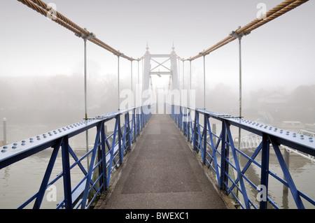 Foggy day at Teddington Lock , West London - Stock Photo