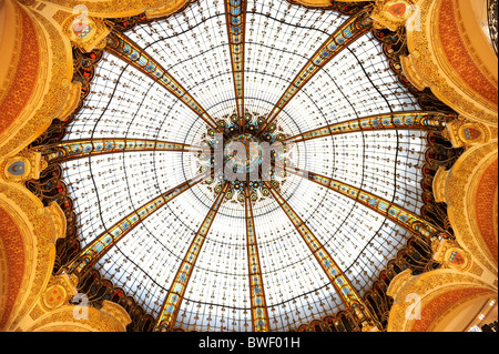 The Beautiful Domed roof of Galleries Lafayette, Paris,France - Stock Photo