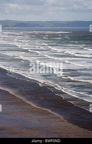 north devon coast at saunton looking towards braunton burrows - Stock Photo