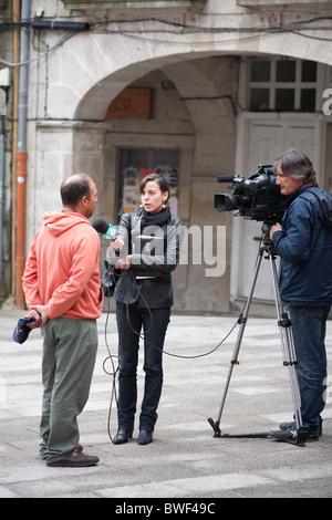 outdoor tv interviews Vigo Spain - Stock Photo