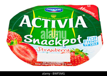 Label from a Tub of Strawberry flavoured Activia by Danone - Stock Photo