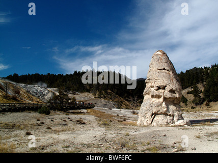 The dormant hot spring cone Liberty Cap at Minerva Terrace in Yellowstone National Park in Wyoming, United States - Stock Photo