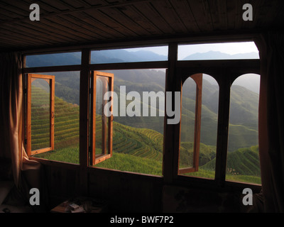 Ping An Rice Terraces, Longsheng, Longji, Guilin, China. - Stock Photo