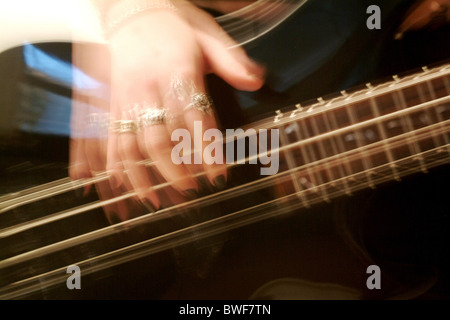 A four-string bass guitar