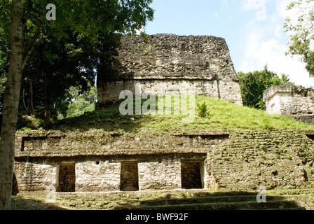 Building in the Seven Temples complex, Maya ruins of Tikal, El Peten, Guatemala. Tikal is a UNESCO World Heritage - Stock Photo
