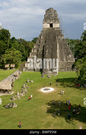 Great Plaza and Temple I or Temple of the Great Jaguar, Tikal, El Peten, Guatemala. Tikal is a UNESCO World Heritage - Stock Photo