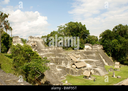 Central Acropolis at the Maya ruins of Tikal, El Peten, Guatemala. Tikal is a UNESCO World Heritage Site. - Stock Photo