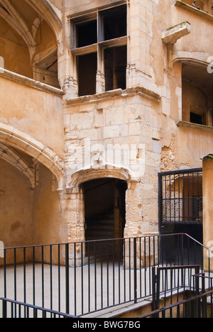 Traboule Les deux Cours, Saint Jean district, Vieux Lyon district, France - Stock Photo