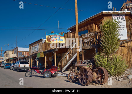 Main street in Oatman, Route 66 in Black Mountains, Arizona, USA - Stock Photo