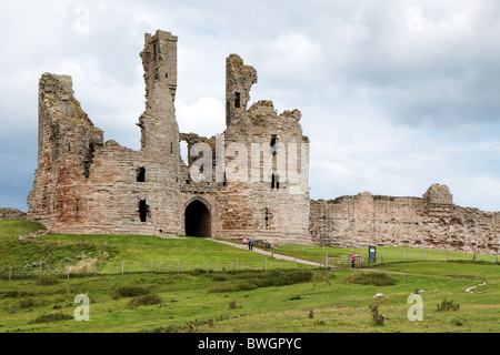 View of Dunstanburgh Castle at Craster Northumberland - Stock Photo