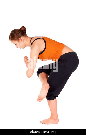 woman doing first stage of yoga exercise called revolved