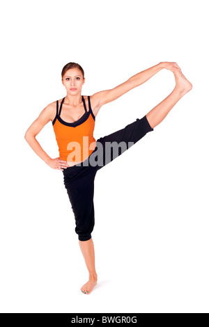 woman doing yoga exercise called revolved headtoknee