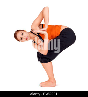 woman practicing yoga exercise called monkey god pose