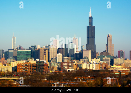 The Sears/Willis Tower dominates the Chicago skyline in this seasonal fall view from the west side of the city. - Stock Photo