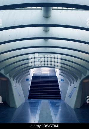 Stairway, Gare de Liège-Guillemins, architect Santiago Calatrava, Liège, Belgium, Europe - Stock Photo