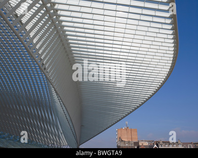 Architectural roof detail of the station in Liège-Guillemin, Belgium, Europe - Stock Photo