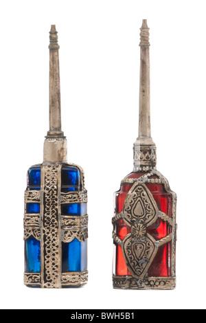 Pair of vintage Eau de Cologne perfume bottles - Stock Photo