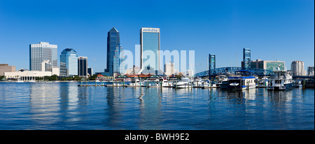 Panoramic view of the downtown skyline from over the St Johns River, Jacksonville, Florida, USA - Stock Photo