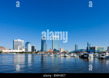 View of the downtown Jacksonville skyline from over the St Johns River, Jacksonville, Florida, USA - Stock Photo