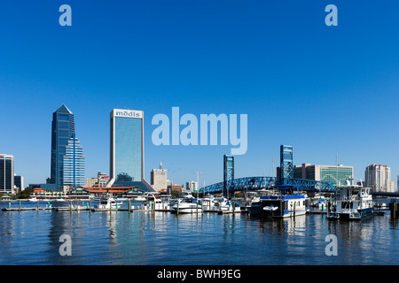 View of the downtown skyline from over the St Johns River, Jacksonville, Florida, USA - Stock Photo