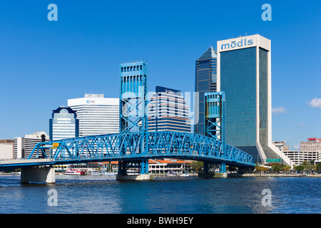 View of downtown skyline and Main Street Bridge (John T Alsop Jr Bridge) from the St Johns River, Jacksonville, - Stock Photo