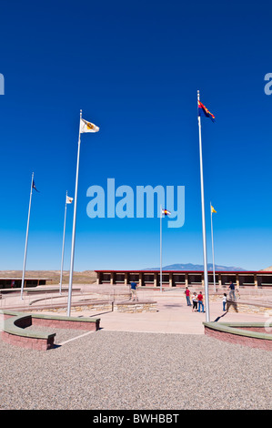 Flags at Four Corners Monument, New Mexico - Stock Photo