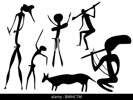 Primitive figures looks like cave painting - primitive art - Stock Photo