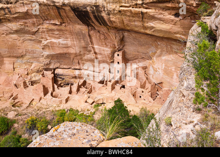 Square Tower House Ruin, Mesa Verde National Park, Colorado - Stock Photo