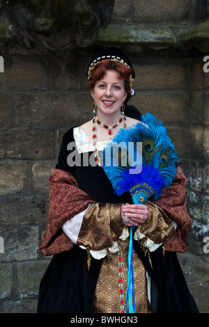 'Mary of Guise' Historical Figures in period costumes at Stirling Castle   Re-Enactment Tourist Event  Costumed - Stock Photo