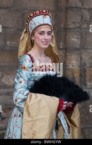 Historical Figures in period costumes at Stirling Castle   Re-Enactment Tourist Event   Costumed Ladies, Entertainers, - Stock Photo