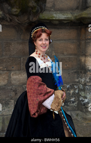 'Mary of Guise, Medieval Dress Queen of Scots Historical Figures at Stirling Castle   Re-Enactment Event  Costumed - Stock Photo