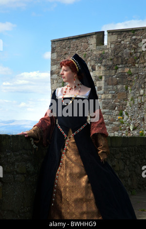 'Mary of Guise' (MR) Historical Figures in period costumes at Stirling Castle Re-Enactment Tourist Event, Costumed - Stock Photo