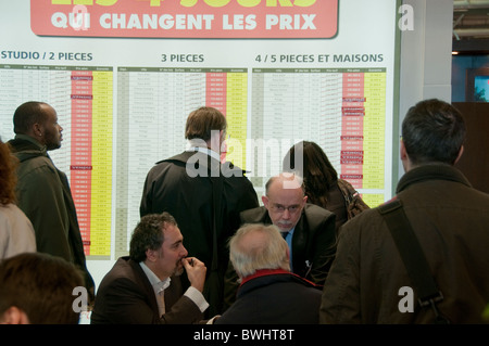 Paris, France - Senior Man Talking, House Sales, Interior View of Paris Real Estate Trade Show at  Business Meeting, - Stock Photo