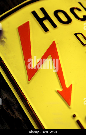 high voltage red yellow flash mortal danger danger threat risk electrical voltage energy power electricity - Stock Photo