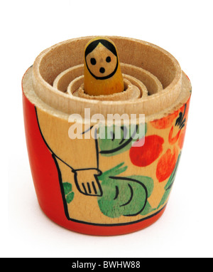 Babuschka traditional Russian wood doll Enterprise succession generations memory babooshka craft hierarchy - Stock Photo