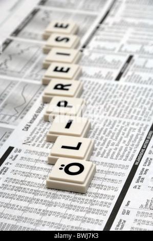 Oil Price Oil Symbol Oil Oil Prices Stones Newspaper Scrabble