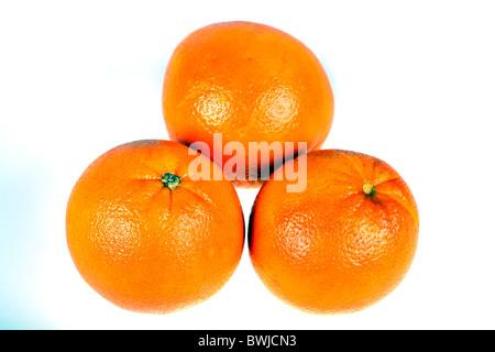 three juice oranges isolated on white background - Stock Photo