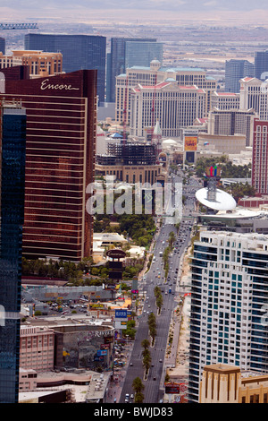 The famous Las Vegas strip on a hot summer day in a view from the Stratosphere Tower. - Stock Photo