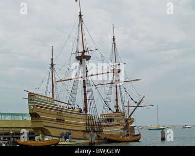 Mayflower II being painted in Plymouth,Massachusetts - Stock Photo
