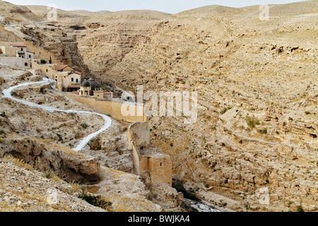 Judean Desert, Greek Orthodox Monastery Mar Saba on the slope of Wadi Kidron - Stock Photo