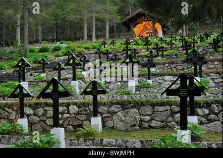 First World War One graves at the German WWI military cemetery Nasswand  in the Dolomites, Italy - Stock Photo