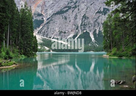 The lake Lago di Braies / Pragser Wildsee in the Dolomites, Italy - Stock Photo