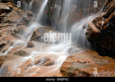 waterfall detail water rock cliff time exposure Arethusa Falls Crawford Notch State Park Indian summer New H - Stock Photo