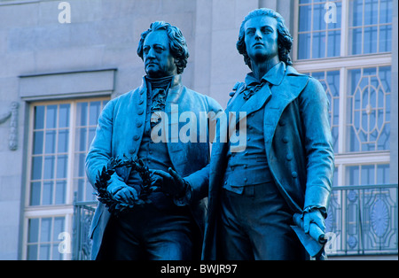 Europe, Germany, Thuringia, Weimar, Goethe and Schiller memorial in front of the Weimarer theatre - Stock Photo