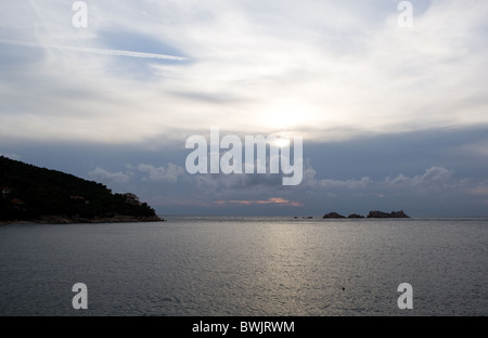 View of the Adriatic Sea on the Dalmatian Coast at sunset from Dubrovnik, Croatia - Stock Photo