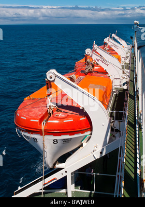 Lifeboats on the Pride of Bilbao passenger ferry at sea sailing between Portsmouth UK and Bilbao in Northern Spain - Stock Photo