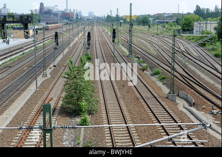 Railway tracks at Beusselstraße station Berlin Germany Deutschland Europe - Stock Photo