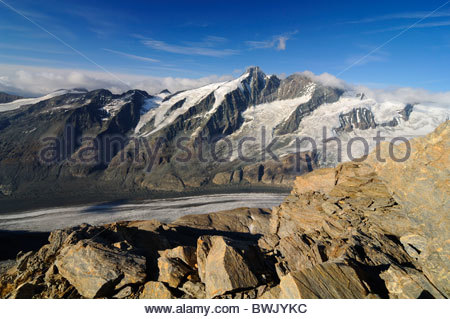 Pasterze glacier, the longest glacier in Austria, directly beneath the Grossglockner mountain, 3798m, Hohe Tauern - Stock Photo