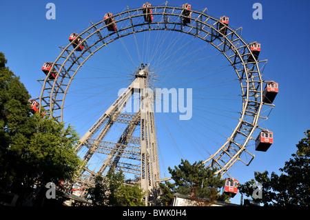 The Prater amusement park big wheel Reisenrad in Vienna Wien Austria - Stock Photo